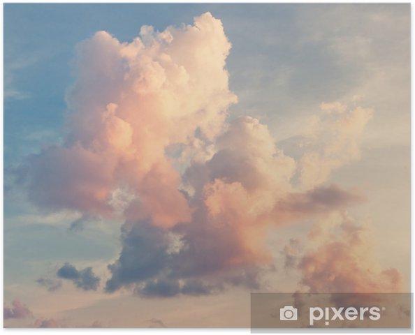 Poster Roze wolken tegen een blauwe lucht -