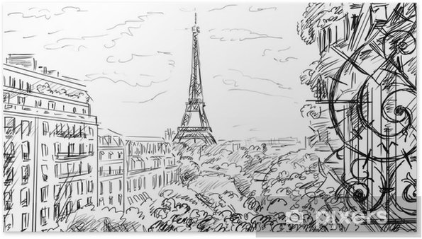 Poster Rue de Paris-croquis illustration - Infrastructures