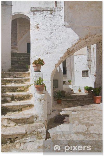Poster Ruelle. Ceglie. Puglia. Italie. - Vacances