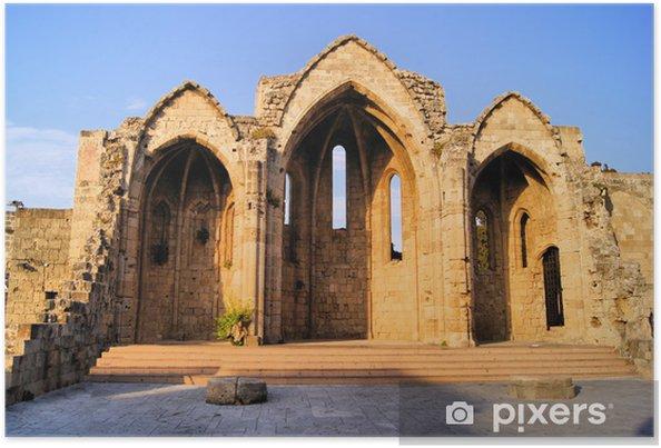 Poster Ruines de l'ancienne église dans la vieille ville de Rhodes, en Grèce - Europe