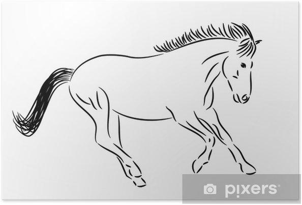 Poster Running Horse Dessin Noir Blanc