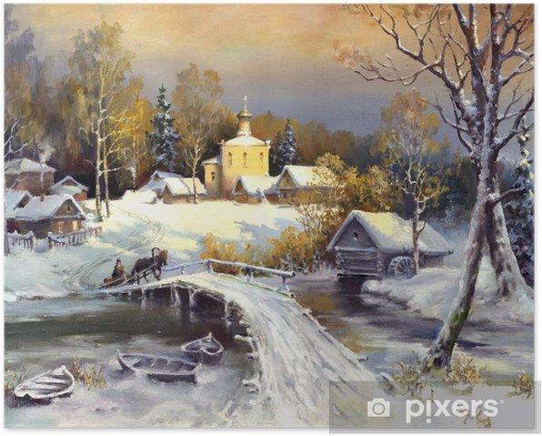 Rural landscape, oil on a canvas Poster - Destinations