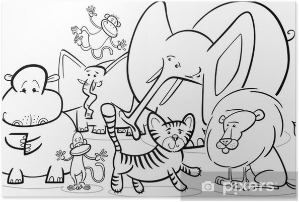 Póster Safari Africano Animales De Dibujos Animados Para Colorear