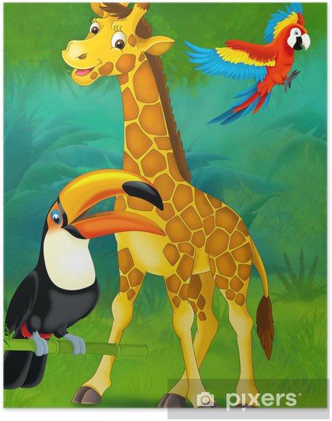 Poster Safari de dessin animé - illustration pour les enfants - Pour enfant 5 ans