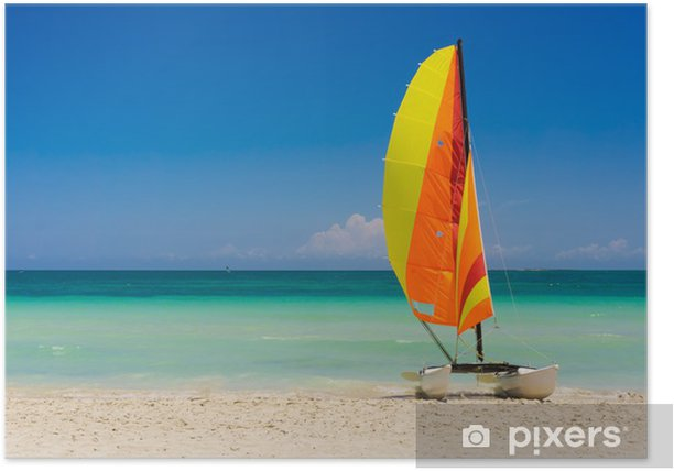Sailing boat on Varadero beach in Cuba Poster - Themes