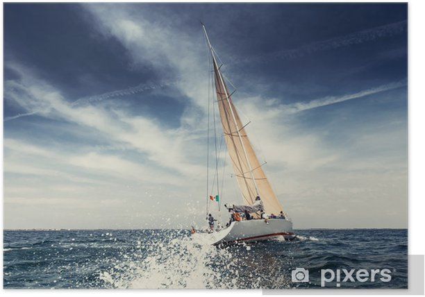 Sailing ship yachts with white sails Poster - Summer