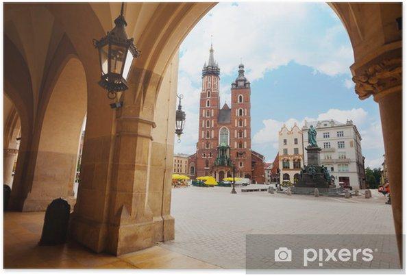 Poster Saint Mary's Basilica en Rynek Glowny in Krakow - Thema's