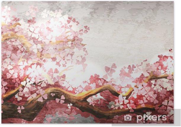 Sakura branch blooming Poster -