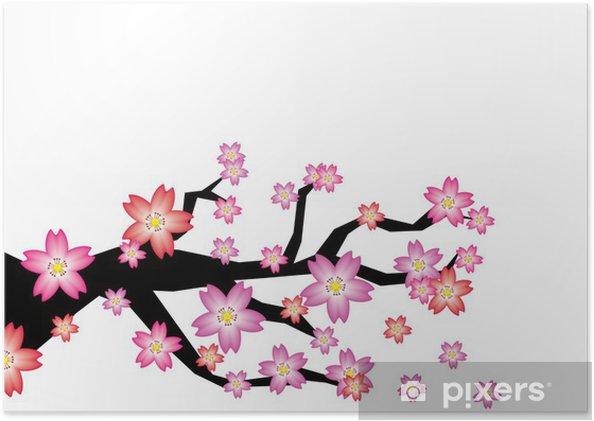 Poster Sakura branche - Abstrait