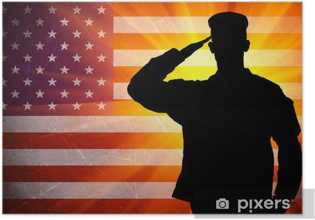 Poster Saluant fier soldat de l'armée des hommes sur fond de drapeau américain - Thèmes