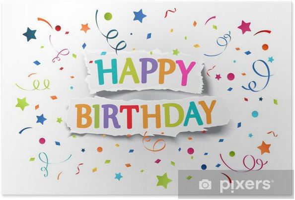 Póster Saludos del feliz cumpleaños en papel rasgado - Celebraciones