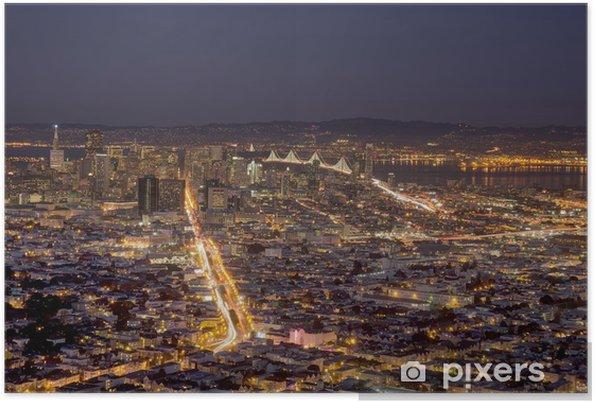 Póster San Francisco por la noche - Ciudades norteamericanas