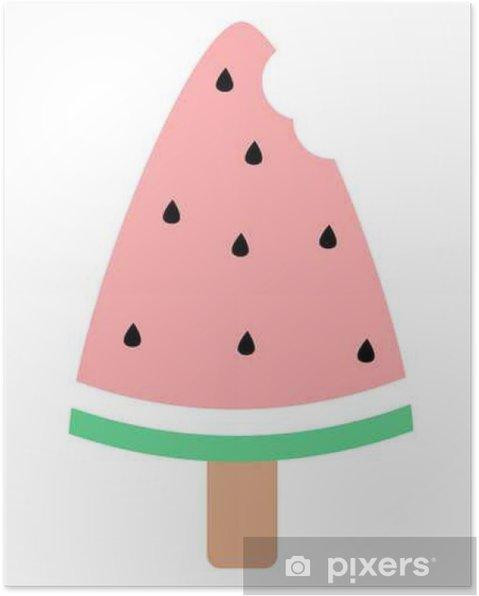 Póster Sandía linda mordido helados vector illustration____ - Comida