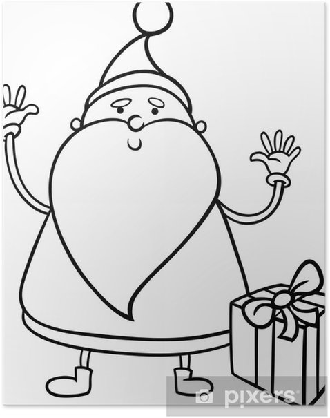 santa claus cartoon coloring page poster