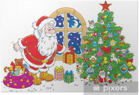 Santa Claus Putting Gifts Under A Christmas Tree Poster Pixers We Live To Change Find & download free graphic resources for trees cartoon. santa claus putting gifts under a christmas tree poster