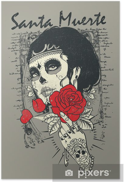Santa muerte Rose Poster - Themes