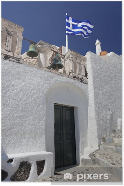 Poster Santorin avec l'église traditionnelle à Oia, Grèce - Europe