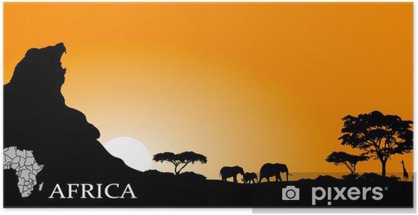 Poster Savane africaine - Arrière plans