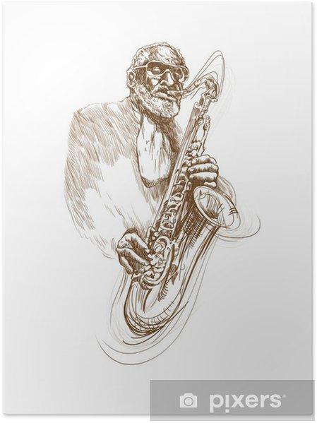 Poster Saxofonist - Mannen