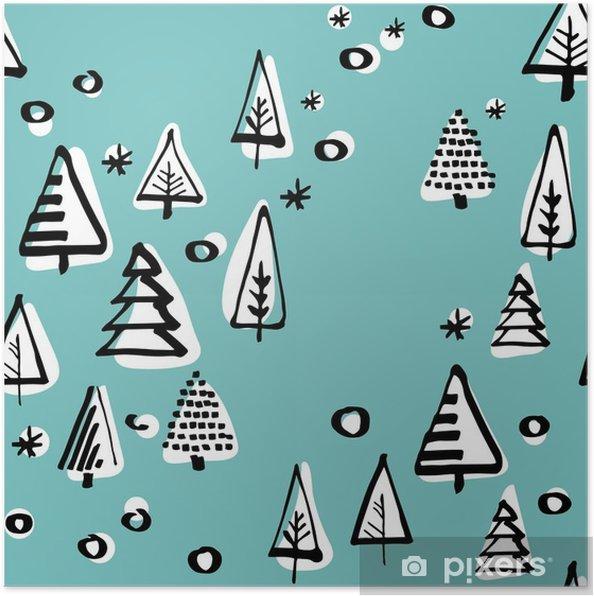 Poster Scandinavische naadloze patroon van de kerstboom vector hand-tekening graphics. - Religie en Cultuur