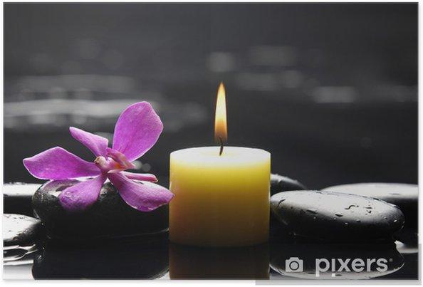 Poster Scène de spa tranquille - aromathérapie bougies et pierres zen - Fleurs