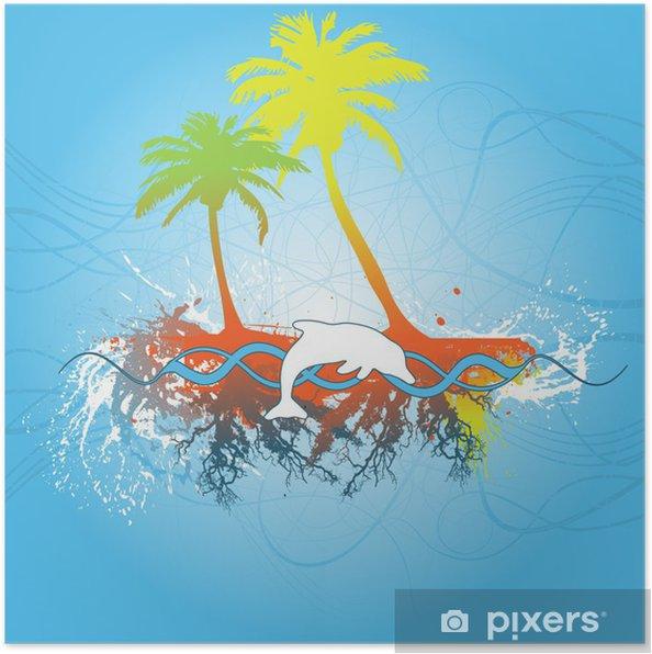 Poster Scène tropicale - Arrière plans