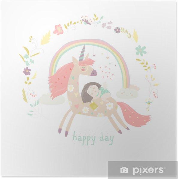 Poster Schattig cartoon meisje met eenhoorn - Hobby's en Vrije tijd
