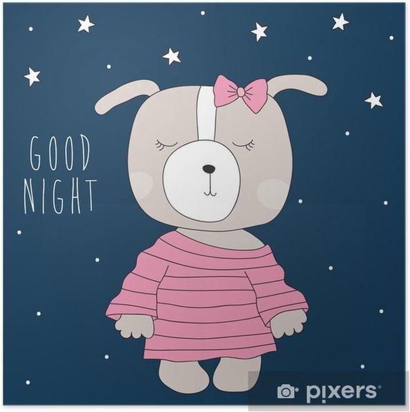 Poster Schattige hond het dragen van pyjama's vector illustratie - Dieren