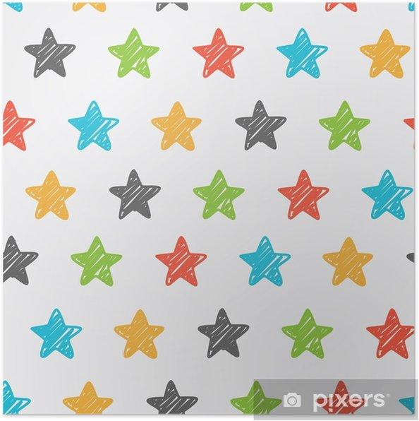 Poster Schetsmatige ster naadloze achtergrond - Religie en Cultuur
