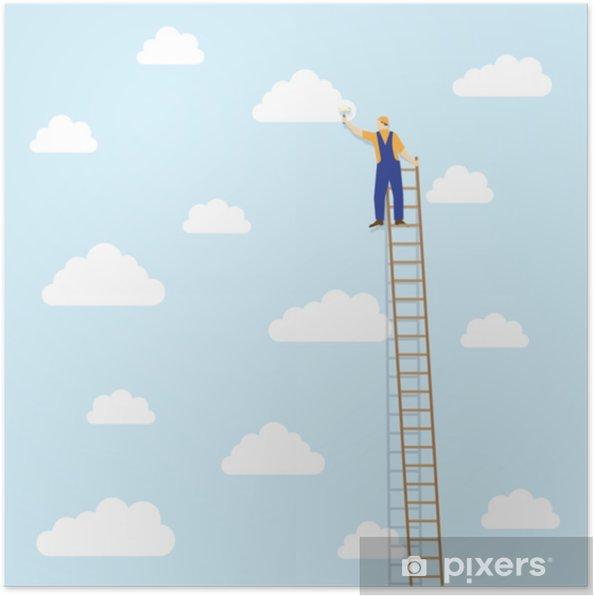 Poster Schilder op de ladder kleurt de wolken - Eten