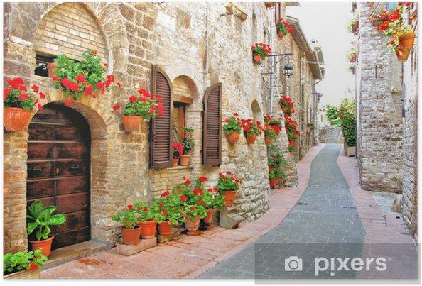 Poster Schilderachtige laan met bloemen in een Italiaanse heuvel stad - Thema's