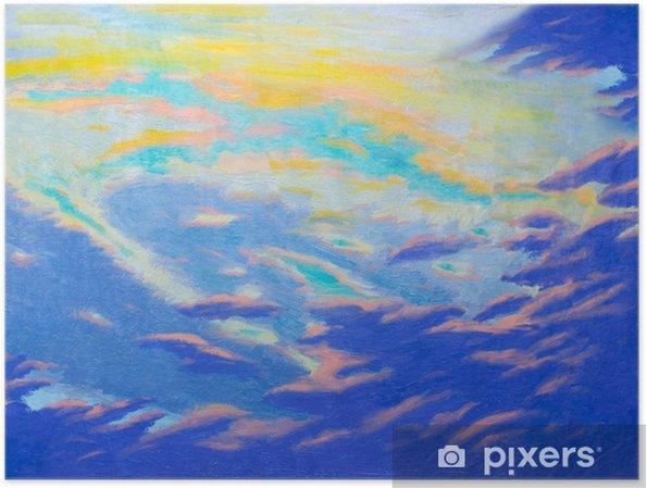Poster Schilderij abstracte kunst originele olie en acrylverf op canvas. - Landschappen