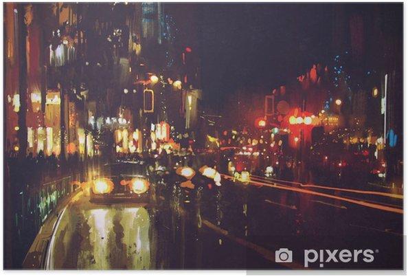 Poster Schilderij van de nacht straat met kleurrijke verlichting - Hobby's en Vrije tijd