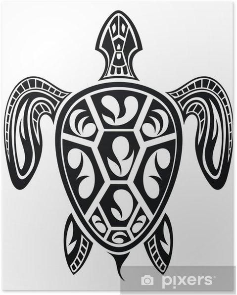 Poster Schildpad Tattoo Ontwerp