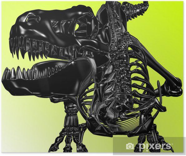 Poster Schwarzer Drache (Skelett) - Denkbeeldig dieren