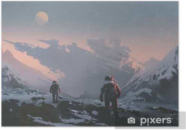 sci-fi concept of astronauts walking to derelict spaceship on alien planet, illustration painting Poster - Hobbies and Leisure