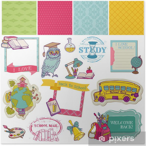 Poster Scrapbook Design Elements-Retour à la conception et débris scolaire pour - Education
