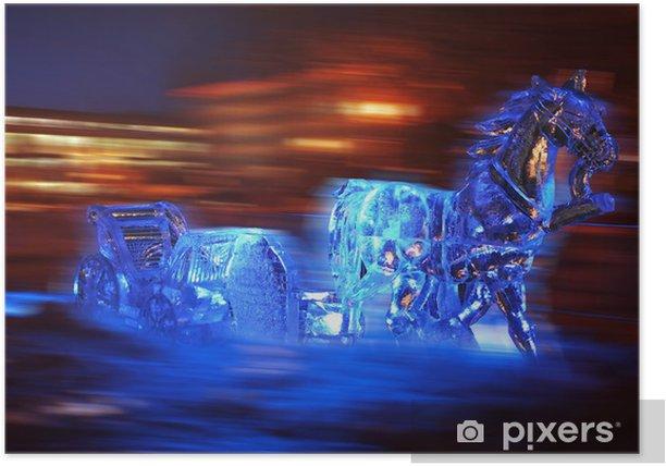 Poster Sculpture de glace d'un cheval et le traîneau - Saisons