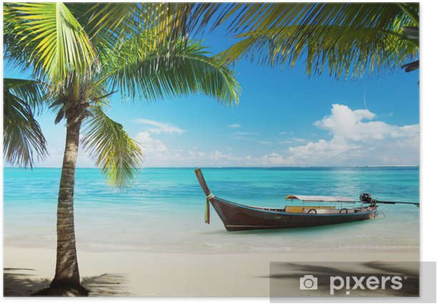 sea, coconut palms and boat Poster - Themes