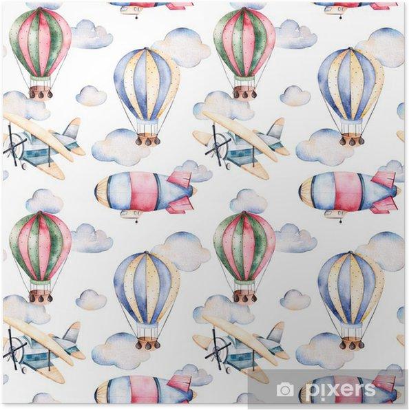 Poster Seamless avec des ballons d'air, dirigeable, les nuages et le plan de ballons à air pastel colors.Watercolor joliment décoré sur fond blanc et d'autres aircrafts.Perfect pour le papier peint - Transports