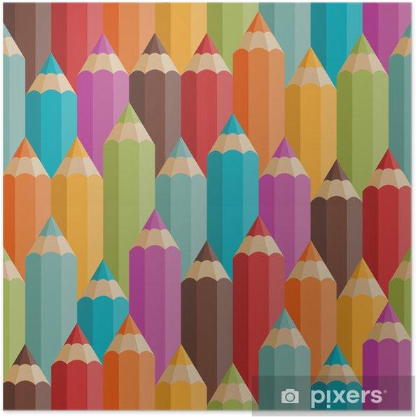 Poster Seamless avec des crayons de couleur dans le style rétro. - Destin