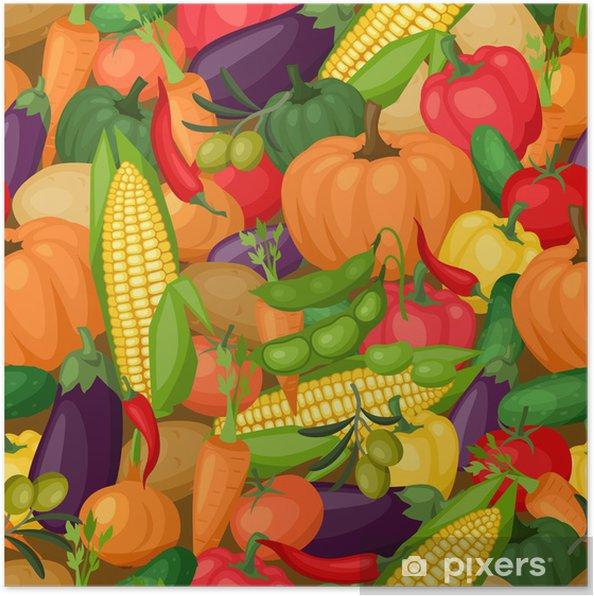 Poster Seamless avec des légumes stylisés fraîches et mûres. - Agriculture