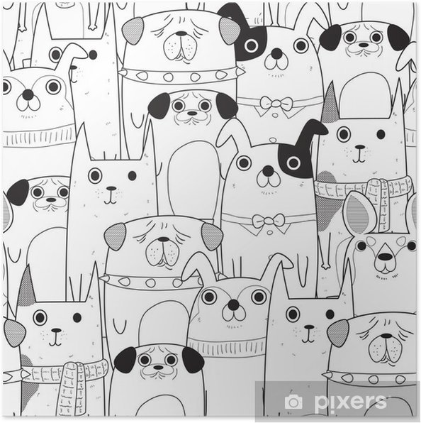 Poster Seamless chiens - Animaux