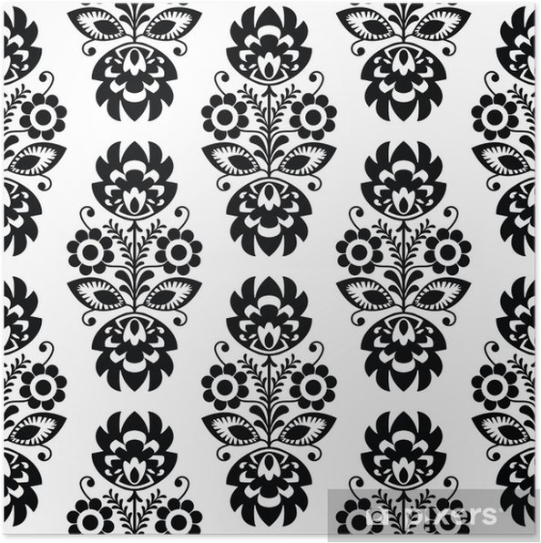 Poster Seamless floral traditionnel polonais - ethnique - Styles