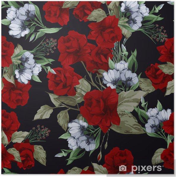 Poster Seamless floral vecteur avec des roses, aquarelle - Arrière plans