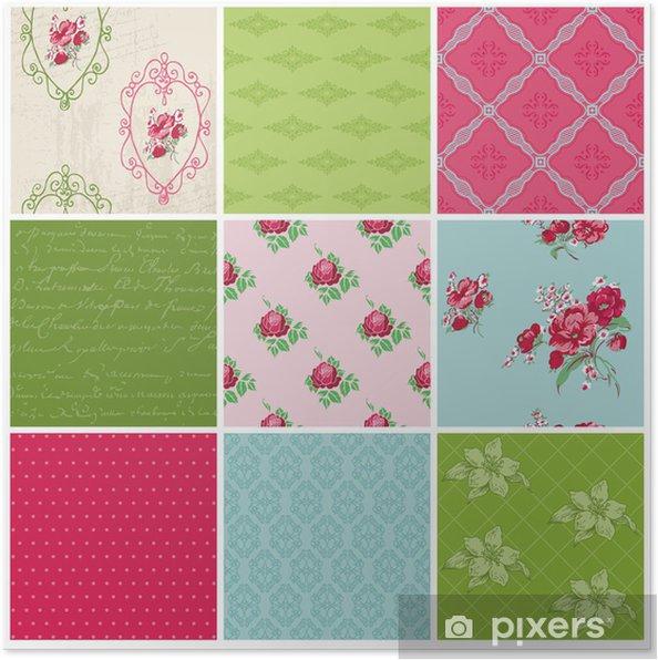 Poster Seamless fond Collection - Vintage Flowers - pour la conception - Célébrations
