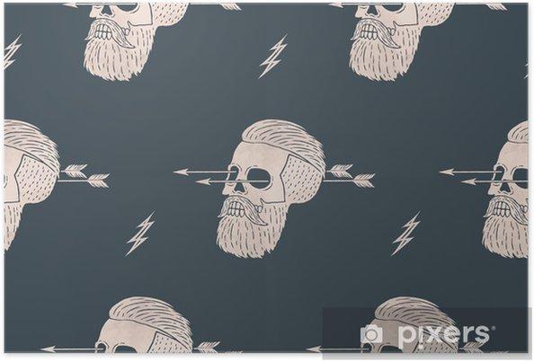Poster Seamless Fond De Hipster Crâne Vintage Avec Flèche Conception Graphique Pour Le Papier Demballage Et De Texture De Tissu De La Chemise