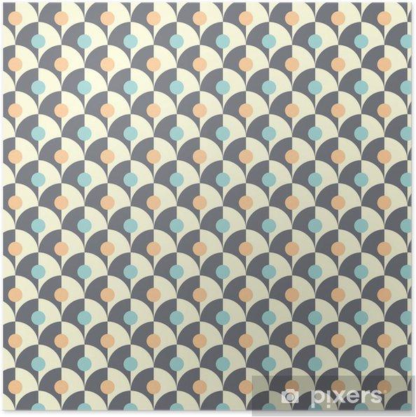 Póster Seamless patrón geométrico retro simple de estilo clásico - Fondos
