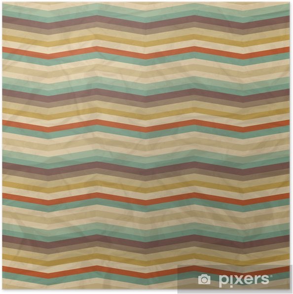 Poster Seamless Pattern Retro géométrique - Styles