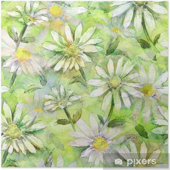 Poster Seamless texture florale de l'aquarelle - Art et création